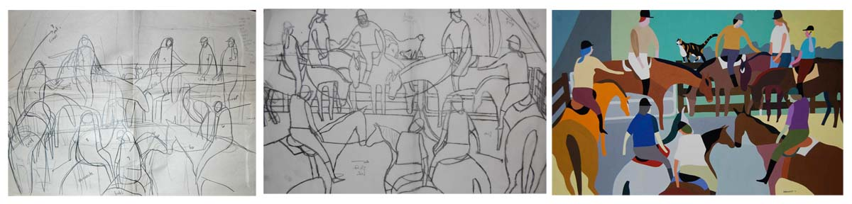Sketch to finished drawing Gossip Fence by Melanie Eberhardt